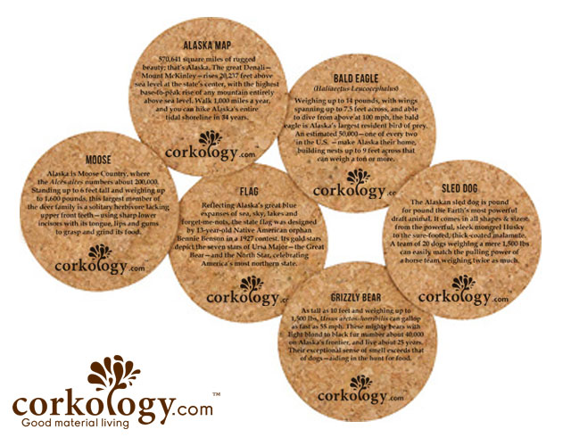 Alaska Map Cork Coaster Set
