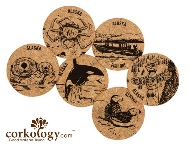 Alaska Whale Cork Coaster Set - Click Image to Close