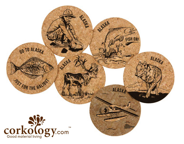 Alaska Wolf Cork Coaster Set
