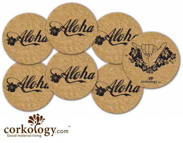 Aloha Hawaii Cork Coaster Set - Free Shipping!