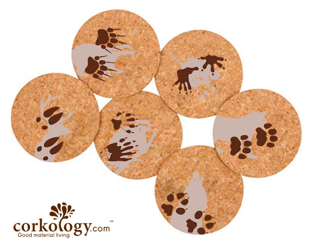 Animal Paw Prints Cork Coaster Set-Free Shipping!