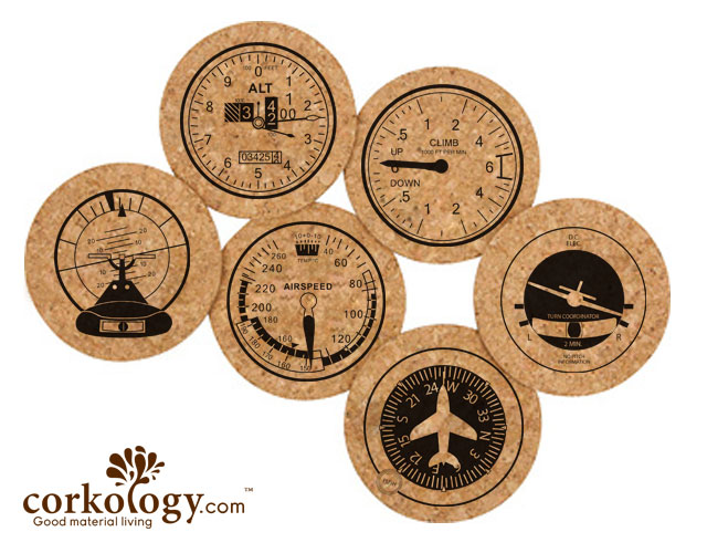 Aviation Cork Coaster Set-Free Shipping!