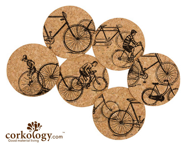 Antique Bicycles Cork Coaster Set-Free Shipping! - Click Image to Close