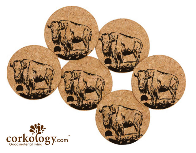 Bison Cork Coaster Set -Free Shipping!