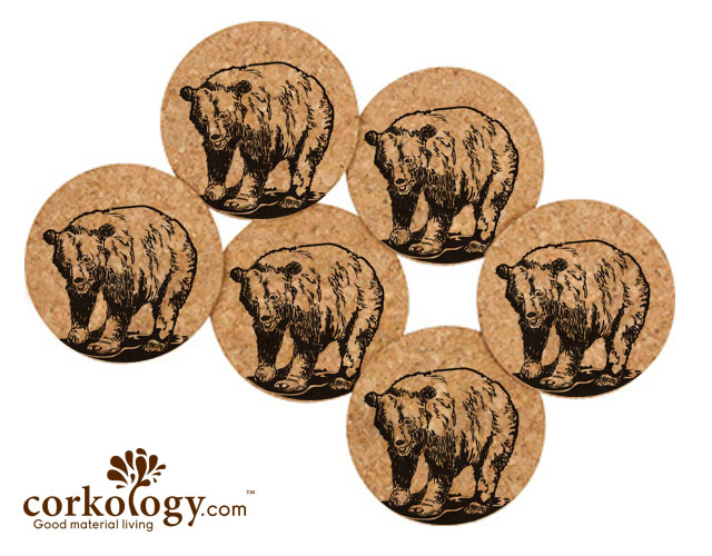 Black Bear Cork Coaster Set -Free Shipping!