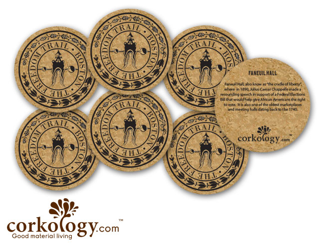Boston Freedom Trail Cork Coaster Set - Free Shipping!