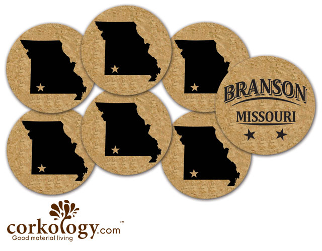 Branson, Missouri Cork Coaster Set - Free Shipping!