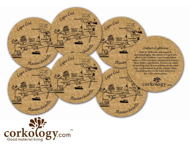 Cape Cod Cork Coaster Set - Free Shipping!