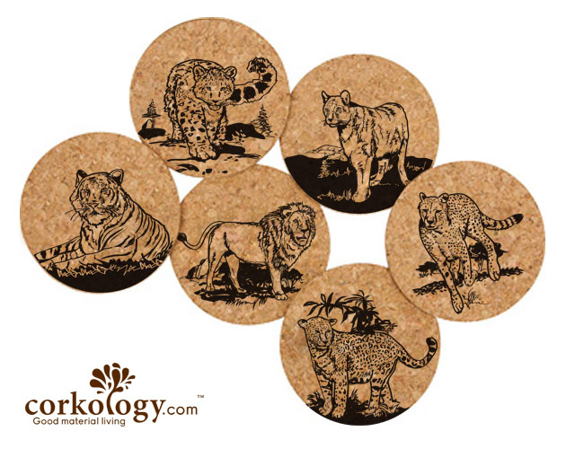 Big Cats Cork Coaster set -Free Shipping!