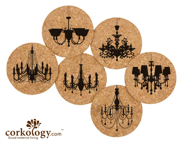 Chandeliers Cork Coaster Set -Free Shipping!