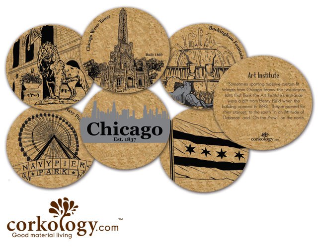 Chicago Cork Coaster Set - Free Shipping!