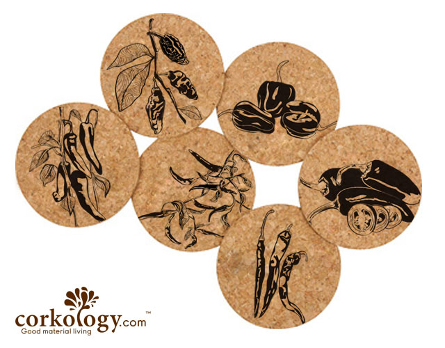 Chilies Cork Coaster Set -Free Shipping!