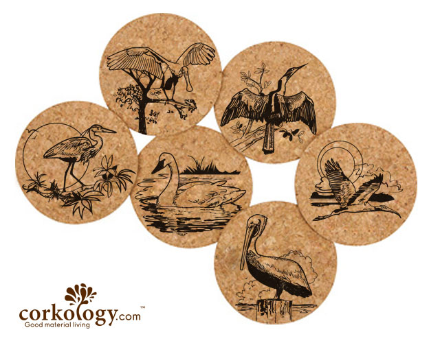 Coastal Birds Cork Coaster Set -Free Shipping!
