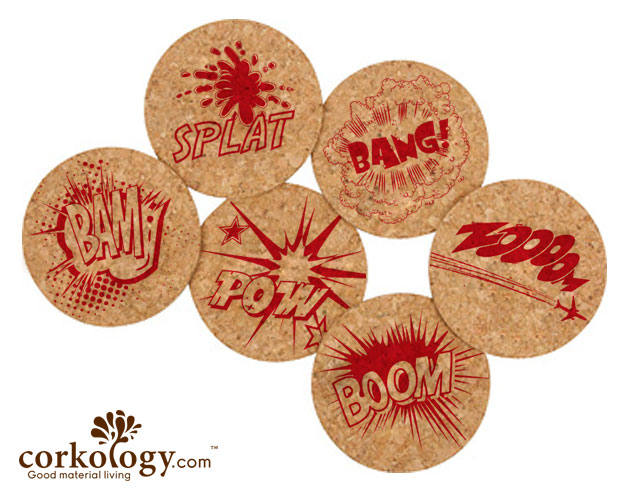 Comics Cork Coaster Set -Free Shipping!