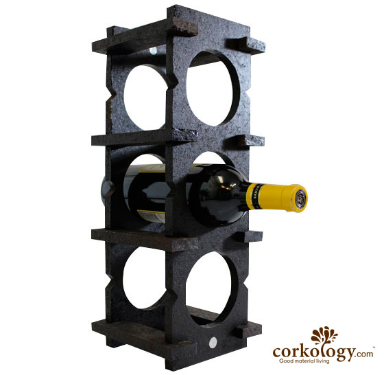Cork 6 Bottle Wine Rack-All Dark