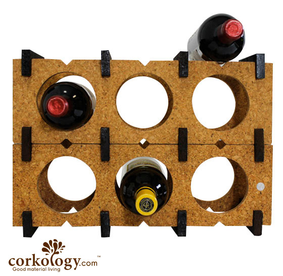 Cork 9 Bottle Wine Rack-Combo Color (Dark on Light)