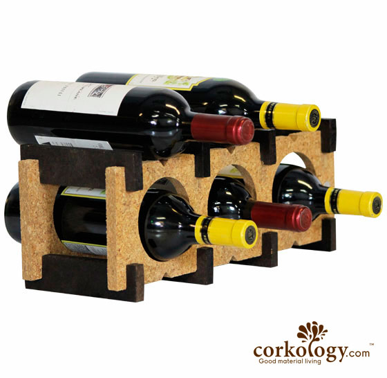 Cork 6 Bottle Wine Rack-Combo Color(light on dark) - Click Image to Close