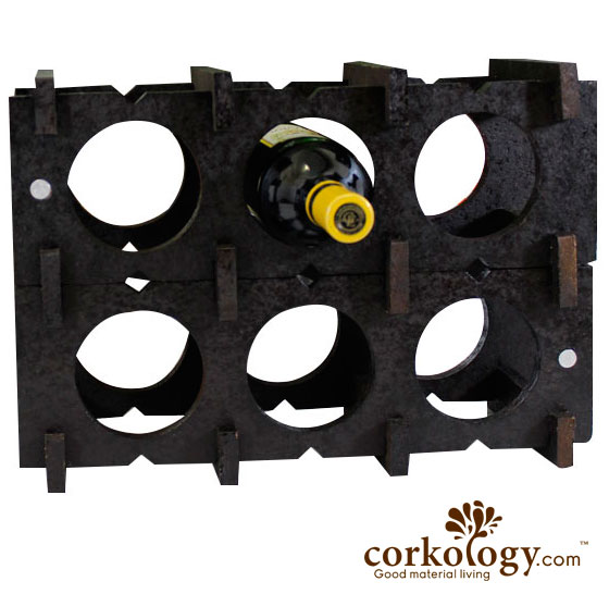 Cork 9 Bottle Wine Rack-All Dark