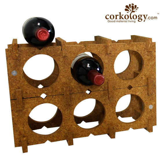 Cork 9 Bottle Wine Rack-All Light