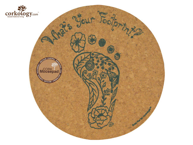 Cork Mouse Pad What's Your Footprint? Round - Click Image to Close