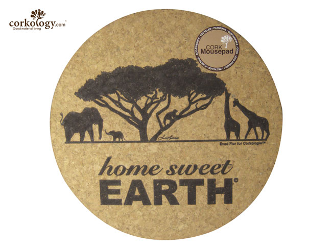 Cork Mouse Pad Home Sweet Earth Round - Click Image to Close