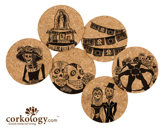 Day of the Dead Cork Coaster Set- Free Shipping - Click Image to Close
