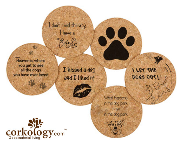 Dogs Cork Coaster Sets- Free Shipping