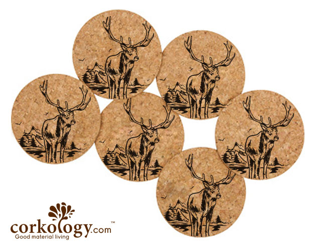 Elk Cork Coaster Set- Free Shipping