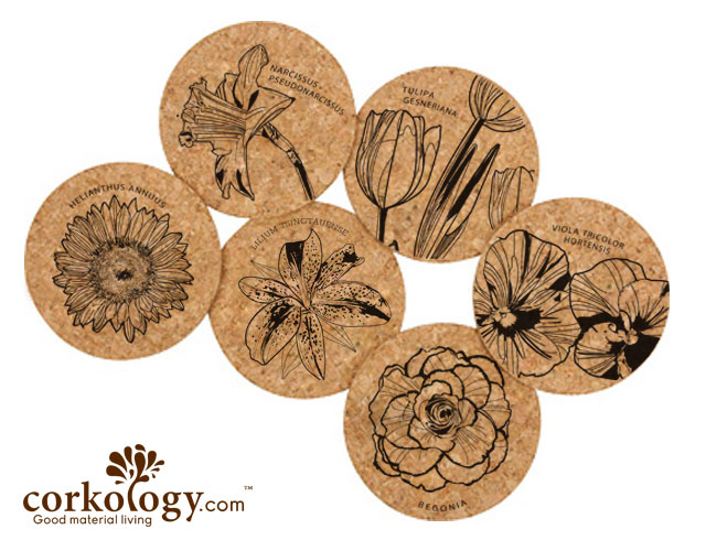 Flowers Cork Coaster Set- Free Shipping