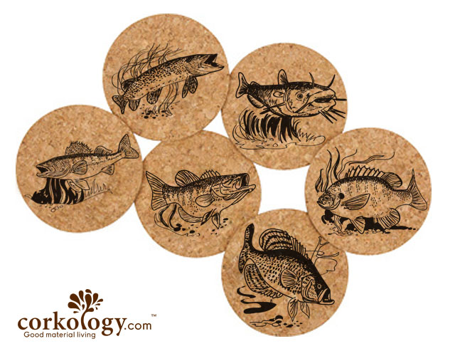 Freshwater Fish Cork Coaster Set- Free Shipping!