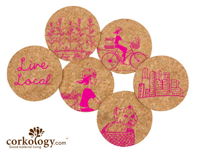 Live Local Girl on Bike Cork Coaster Set -Free Shipping! - Click Image to Close