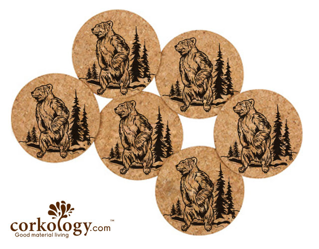 Grizzly Bear Cork Coaster Set -Free Shipping!