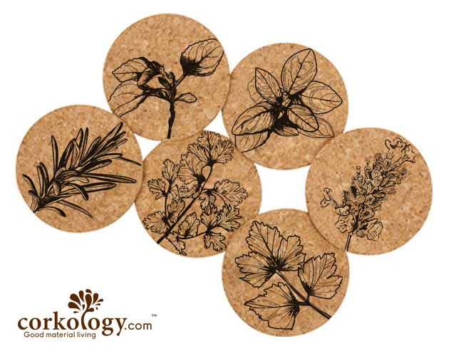Herbs Cork Coaster Set -Free Shipping!