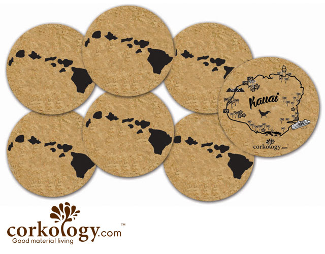 Hawaii Island Chains Cork Coaster Set - Free Shipping!