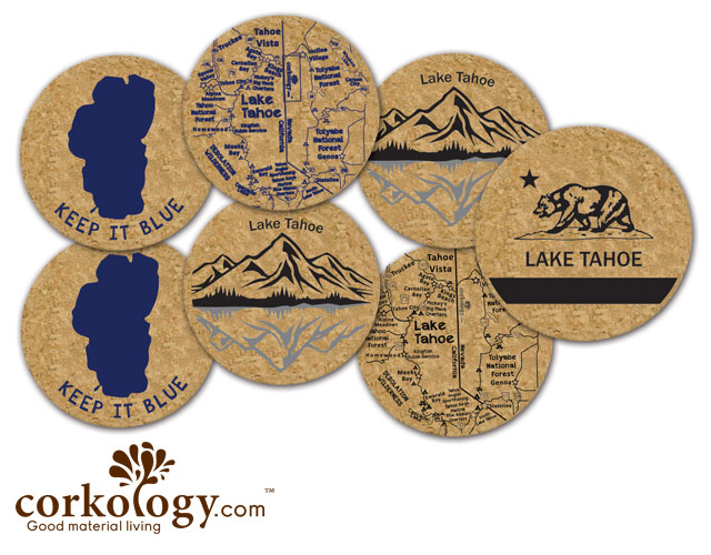 Lake Tahoe Cork Coaster Set - Free Shipping!