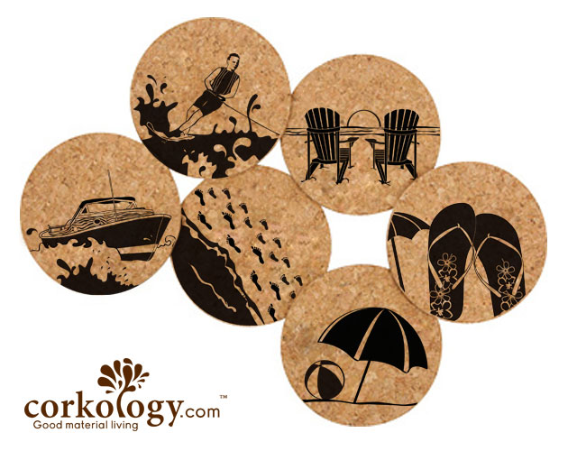 Lake Life Cork Coaster Set -Free Shipping!
