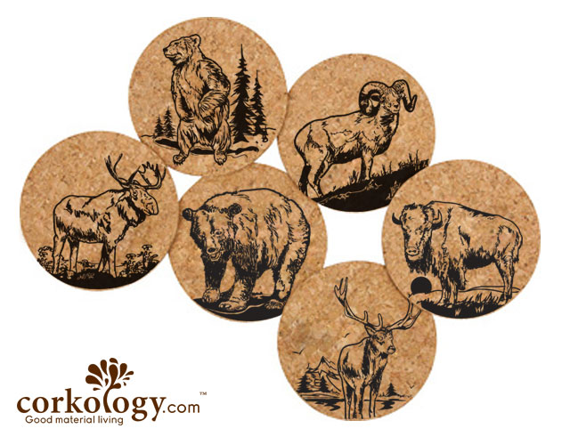 Large Mammals Cork Coaster Set -Free Shipping!