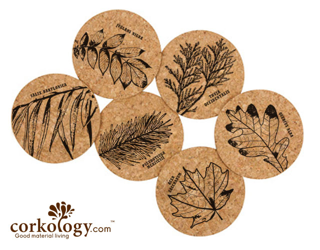 Leaves Cork Coaster Set -Free Shipping!