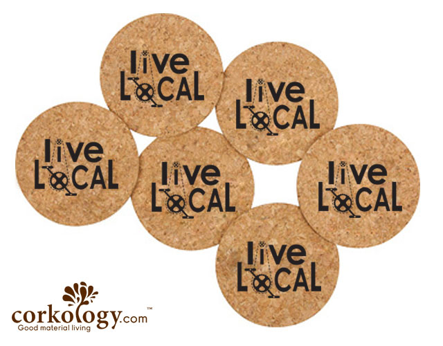 Live Local Bike Chains Cork Coaster Set -Free Shipping!