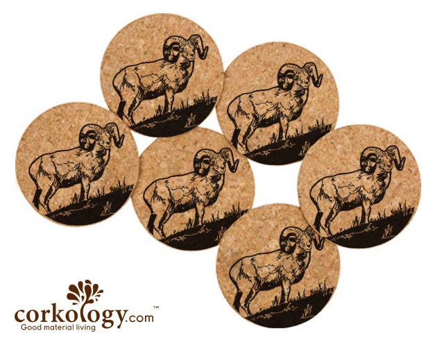 Bighorn Sheep Cork Coaster Set -Free Shipping!