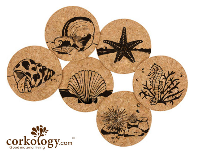 Marine Life Cork Coaster Sets -Free Shipping!