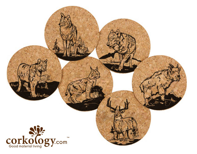 Medium Mammals Cork Coaster Set -Free Shipping!