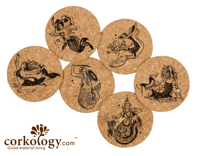 Mermaids Cork Coaster Sets -Free Shipping!