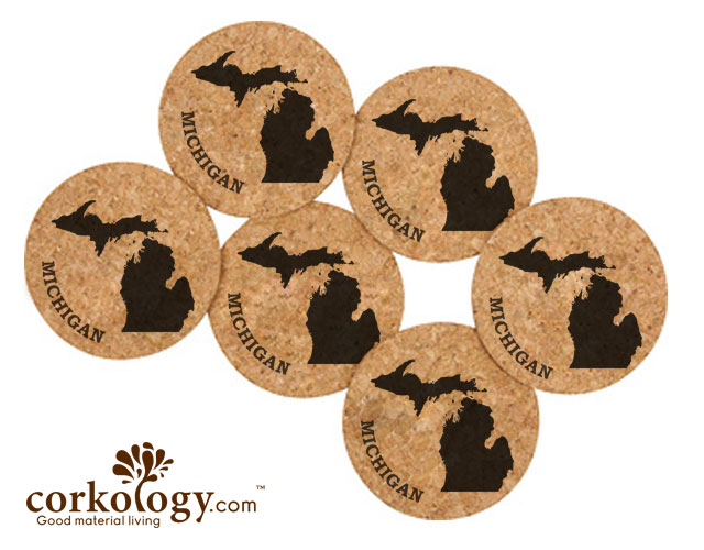 Michigan Cork Coaster Set -Free Shipping!