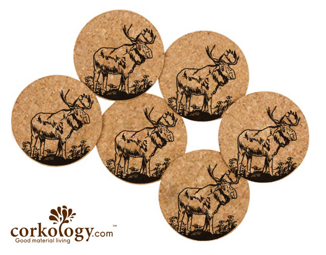 Moose Cork Coaster Set -Free Shipping! - Click Image to Close