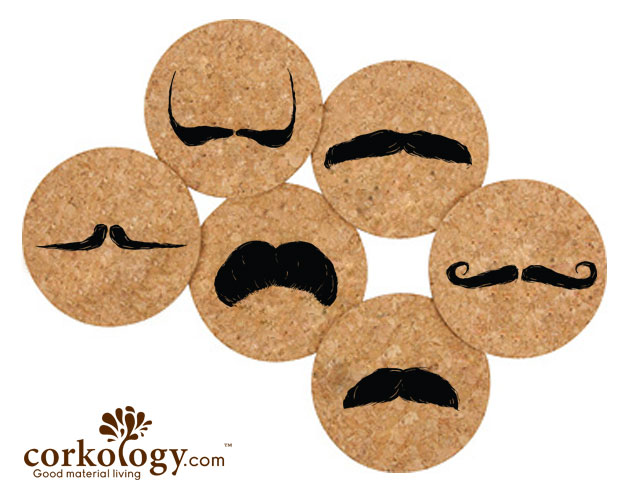 Mustache Styles Cork Coaster Set -Free Shipping!