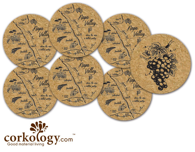 Napa Valley Cork Coaster Set - Free Shipping!