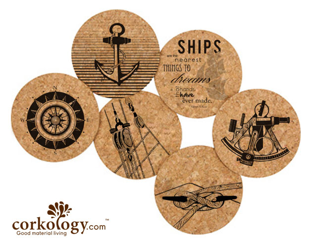 Nautical Cork Coaster Set -Free Shipping!