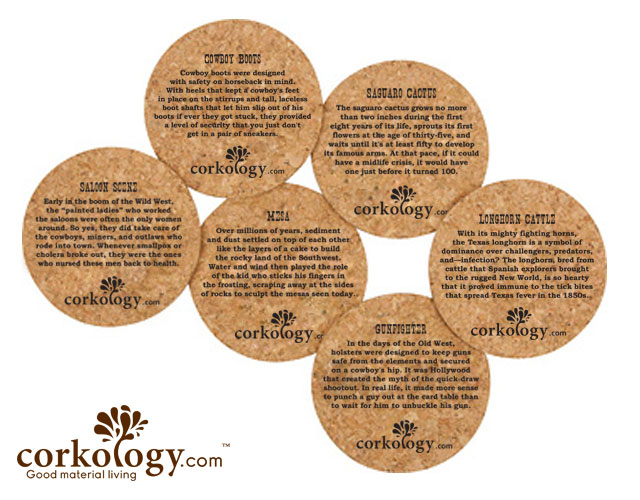 Oldwest Cork Coaster Set -Free Shipping!