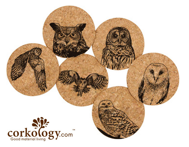 Owls Cork Coaster Set -Free Shipping!